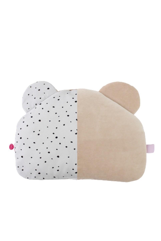 Warm Beige and Black Spots Teddy Bear Baby Pillow