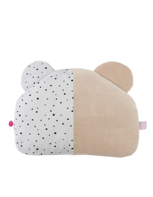 Beautifully soft and cuddly, the Warm Beige and Black Spots Teddy Bear Baby Pillow is an adorable gift for a baby shower and also for nursery or kids' room decoration. This baby head pillow can be used with car seats, strollers, and baby prams.