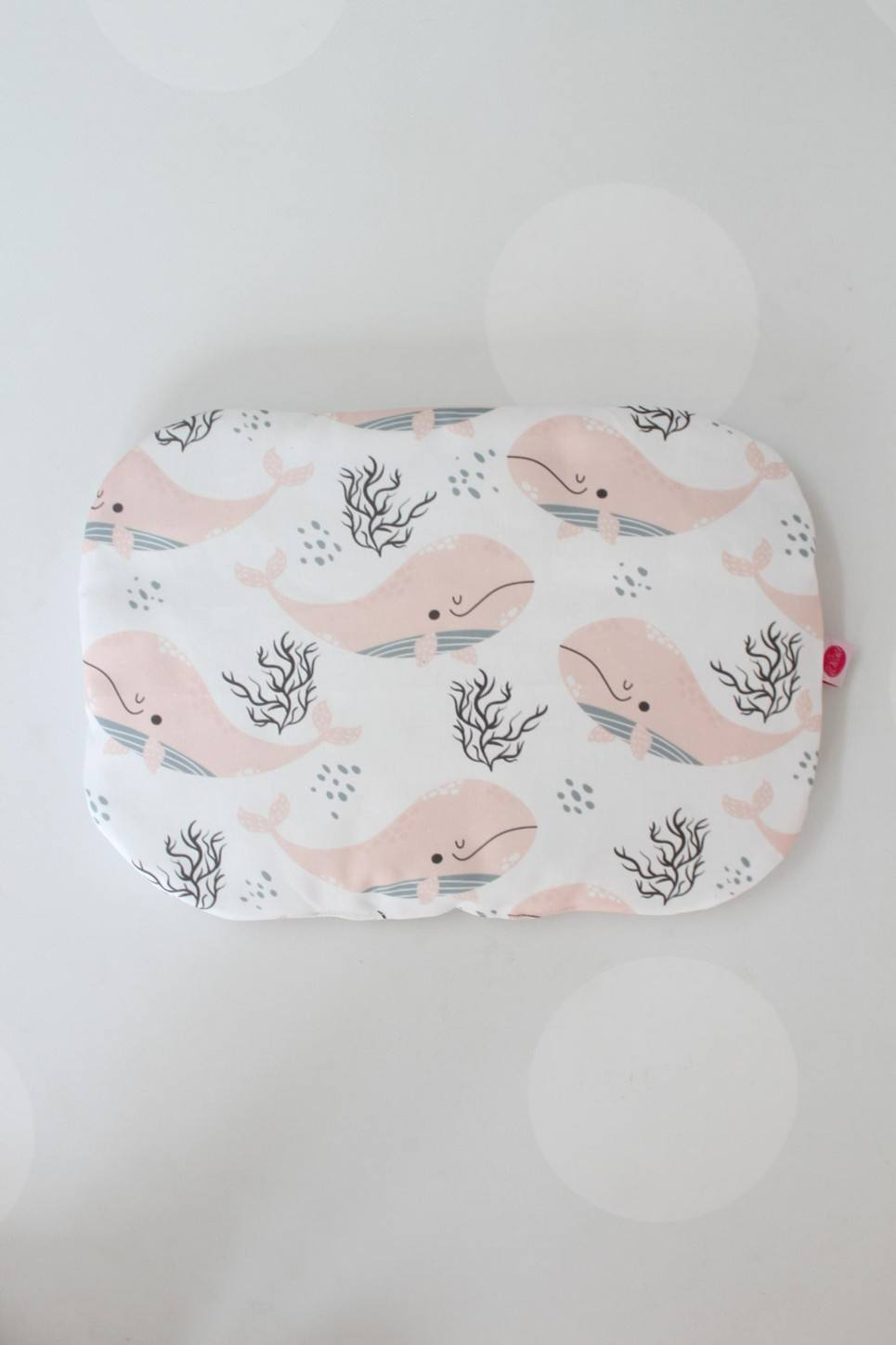 Whales and Black Spots Baby Flat Head Pillow