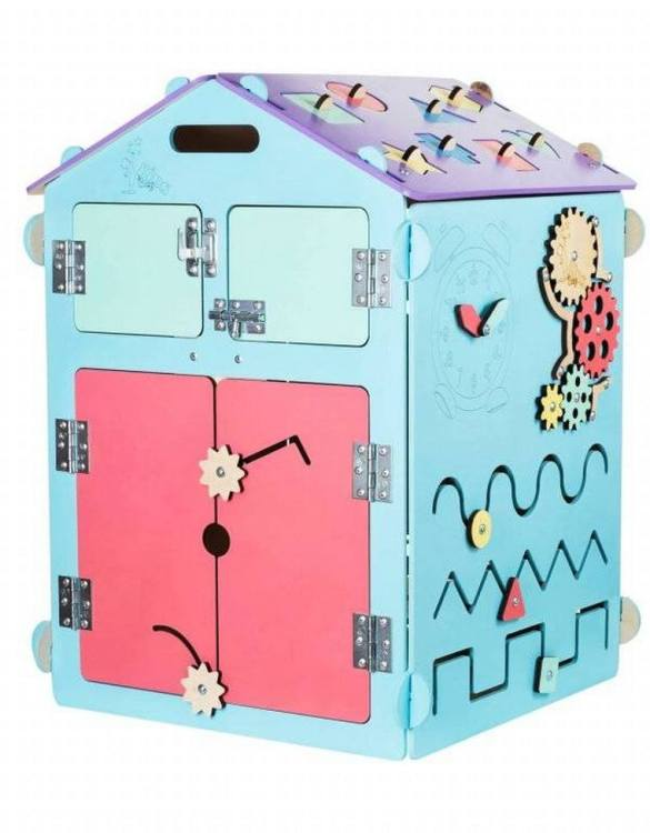 Practical, educational, and decorative educational game, the Blue House Activity Board keeps children busy for a long time, which gives parents a little free time.