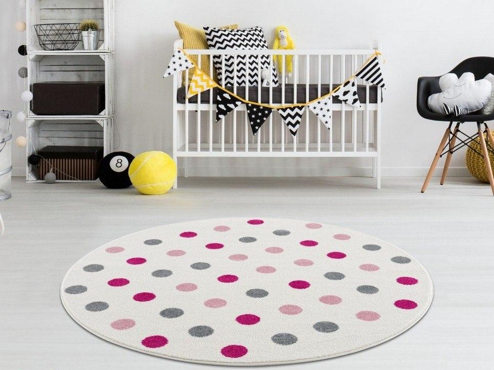 Children's Round Rug with Polka Dots
