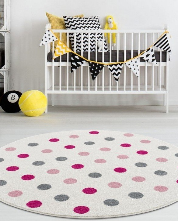 The perfect accessory for any nursery or child's bedroom, the Children's Round Rug with Polka Dots is a dreaminess that will certainly inspire your little one's creative play.