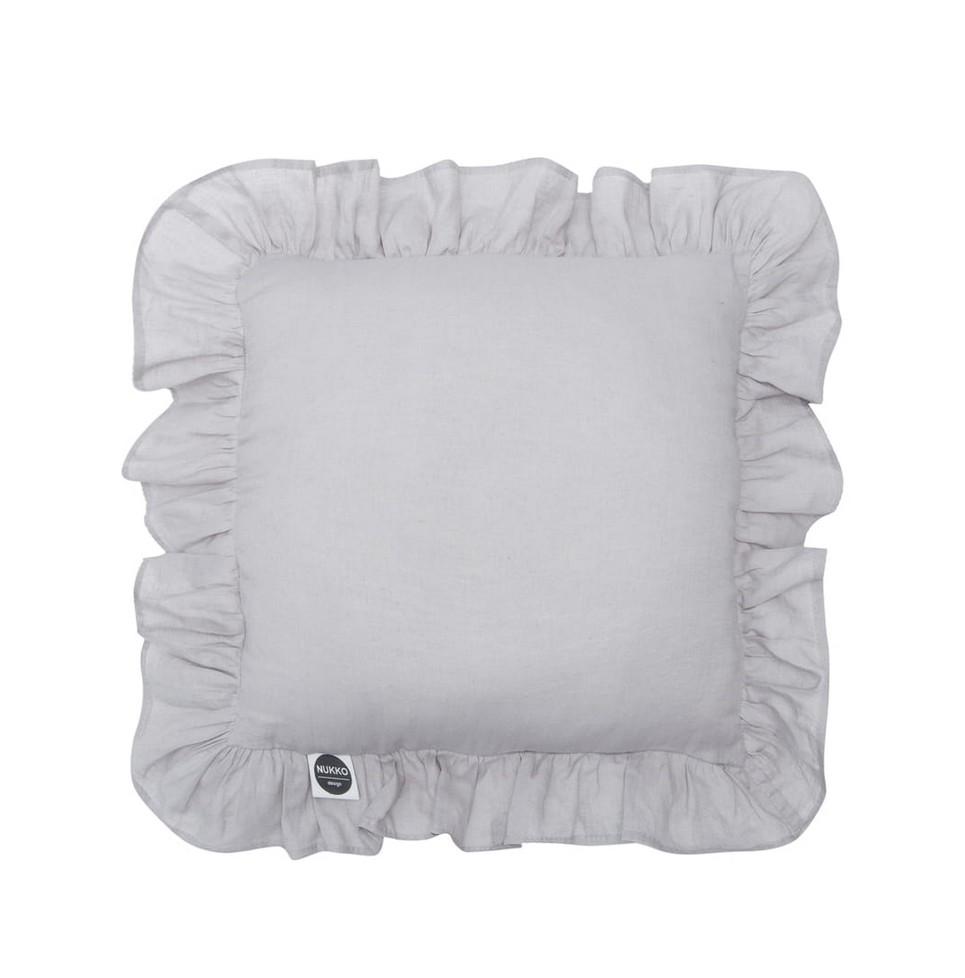 Grey Ruffled Linen Pillow