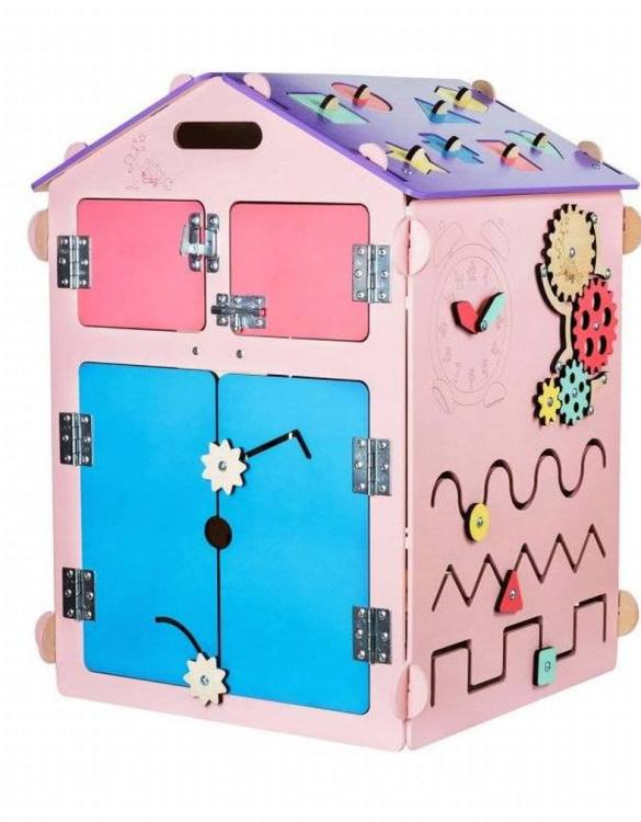 Practical, educational, and decorative educational game, the Pink House Activity Board keeps children busy for a long time, which gives parents a little free time.