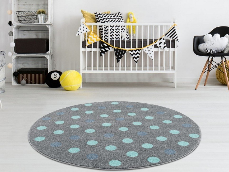 Silver Gray with Polka Dots Children's Round Rug