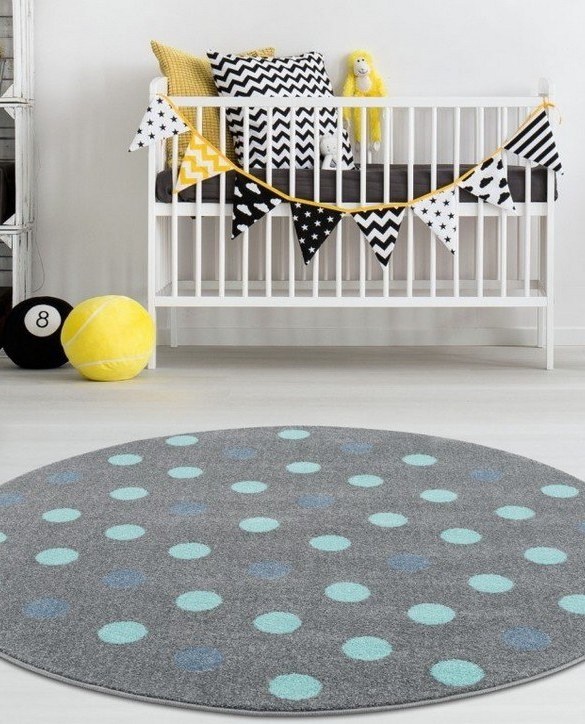 The perfect accessory for any nursery or child's bedroom, the Silver Gray with Polka Dots Children's Round Rug is a dreaminess that will certainly inspire your little one's creative play.