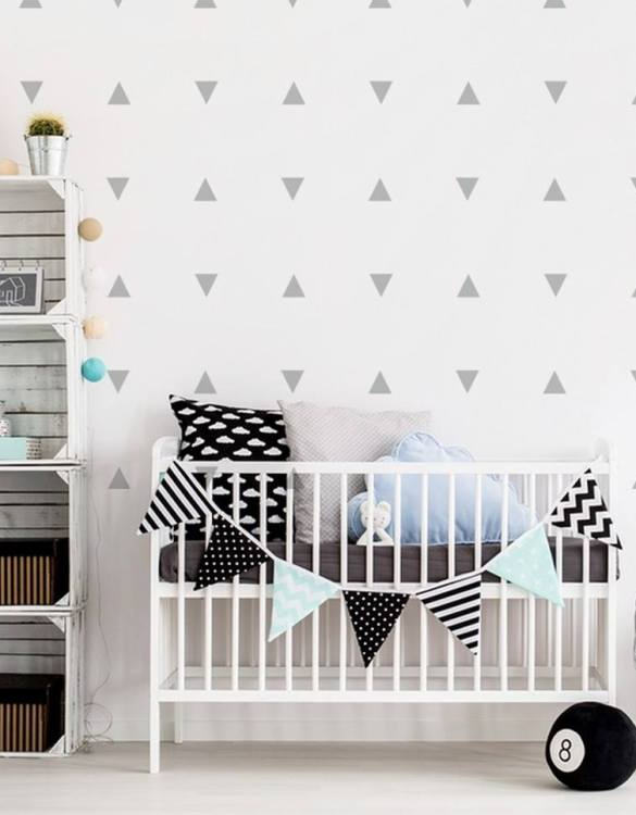 A beautiful scene for children's rooms and nurseries, the Triangles Children's Wall Sticker is the perfect addition to any empty space (like walls or furniture). These wall stickers provide a flexible and cost-effective way to decorate your home.
