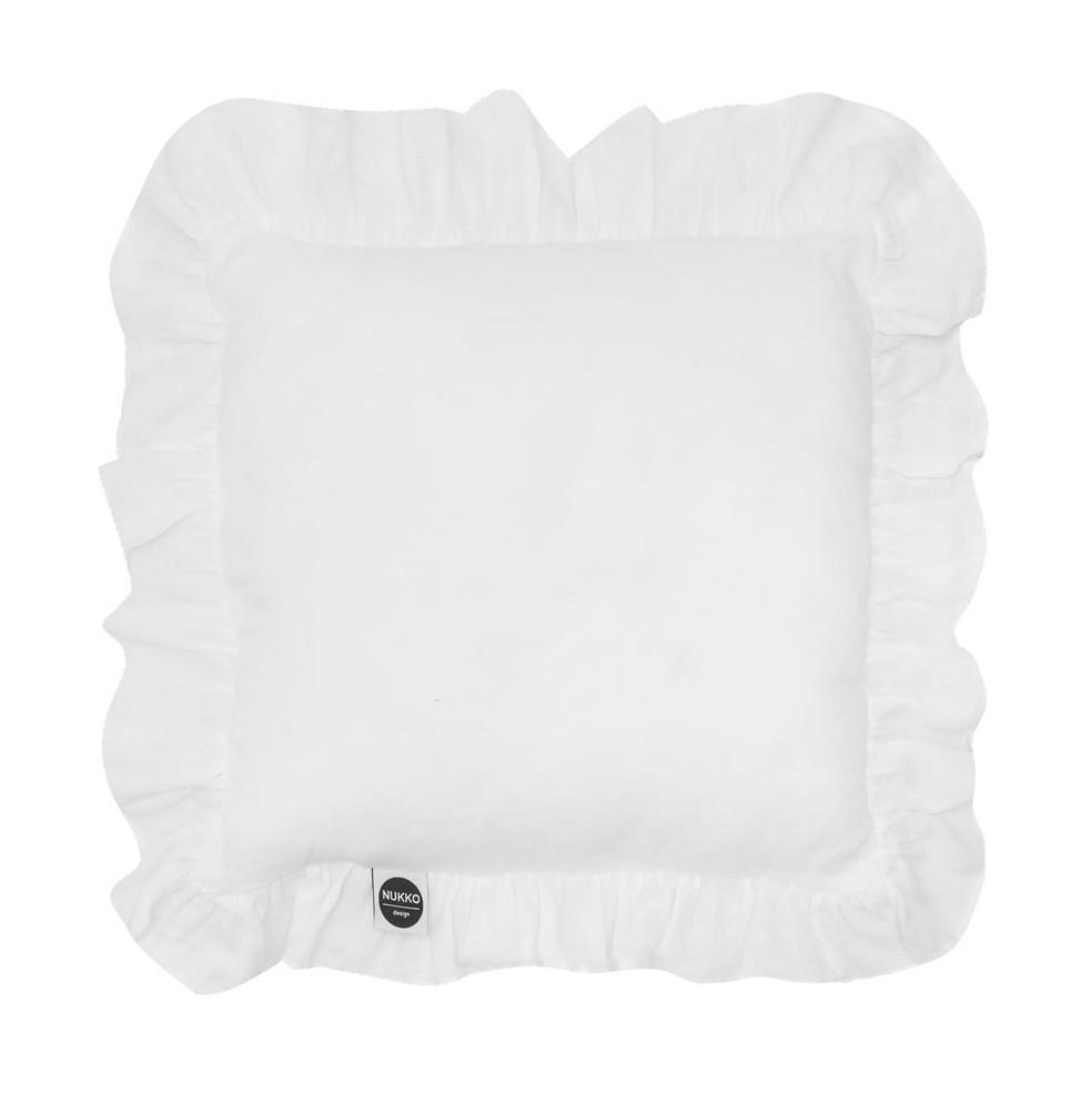 White Ruffled Linen Pillow