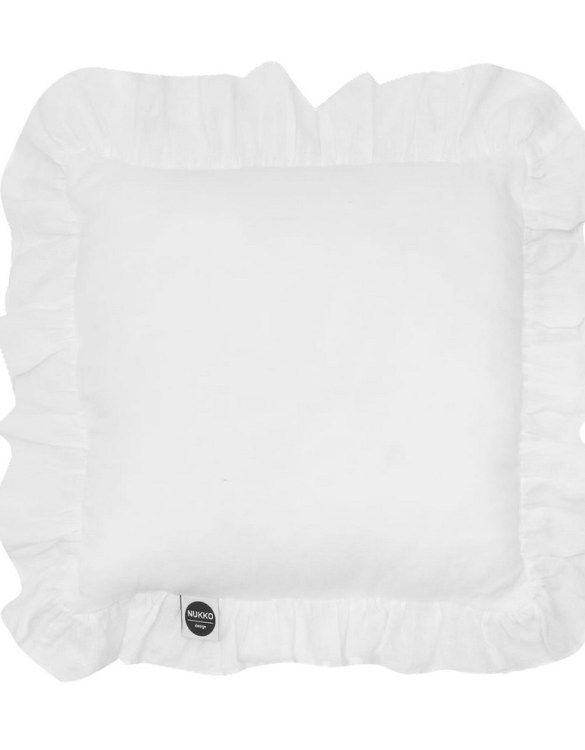 Perfect as a newborn pillow, the White Ruffled Linen Pillow is a great addition for a nursery, children's room, baby crib, or kid's playroom. It makes the perfect gift!
