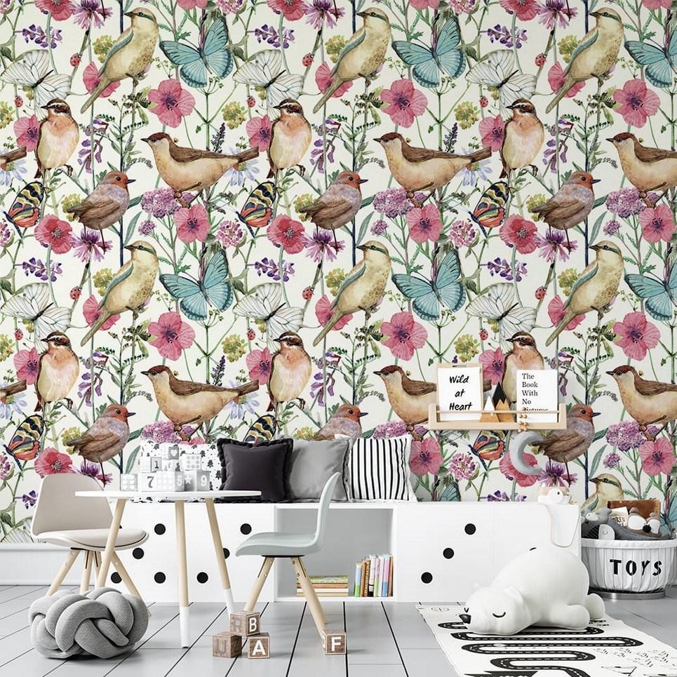 Birds and Butterflies Children's Wallpaper