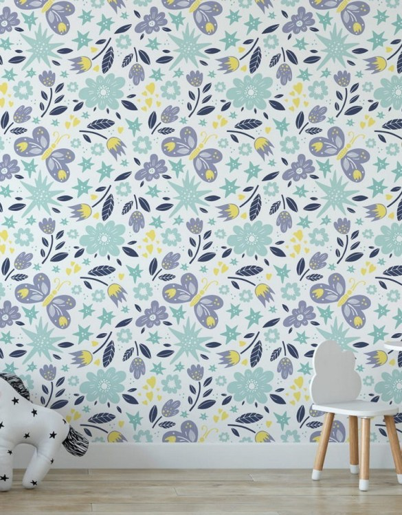 Sure to be adored by little ones, the Butterflies Children's Wallpaper is a fun addition to any nursery or playroom. Go on an adventure with our kid's wallpaper for children's rooms! A well-chosen pattern can visually enlarge the interior.