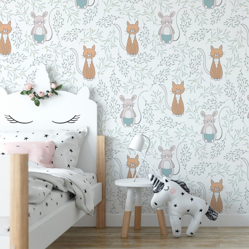 Cats and Mouse Children's Wallpaper