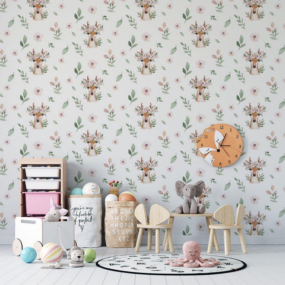 Deers with Wreaths Children's Wallpaper