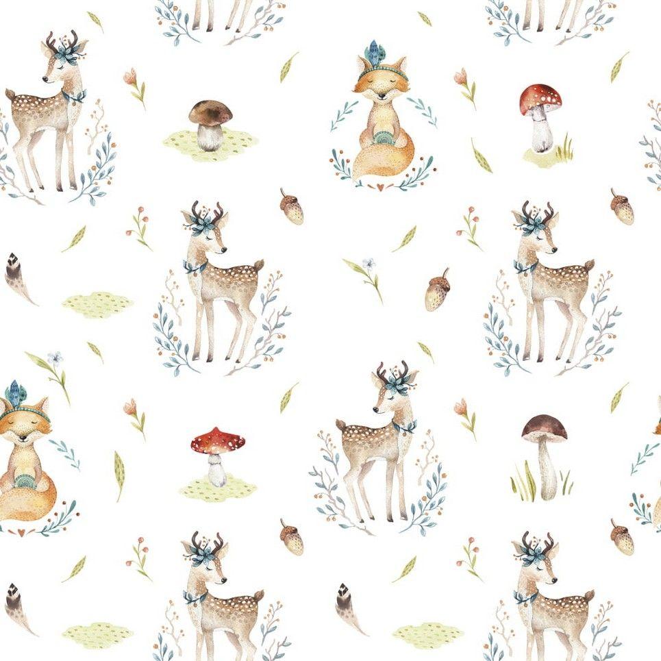 Forest Dreamers – Deer and Fox Children's Wallpaper