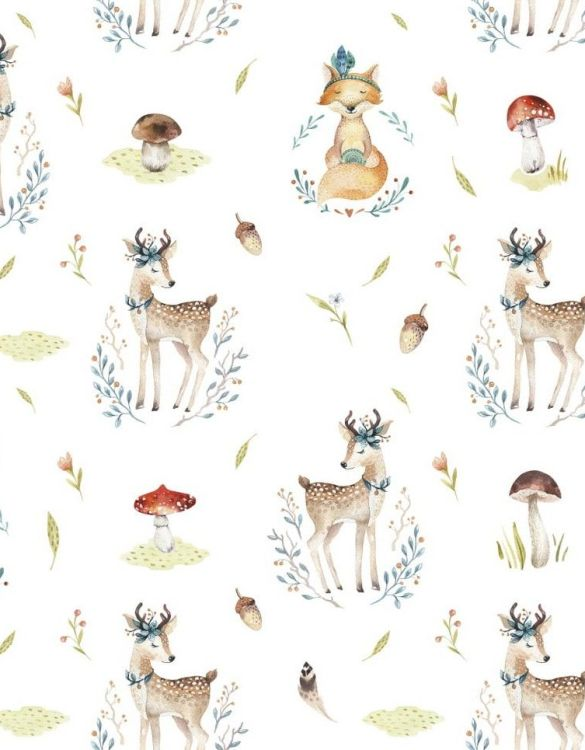 Sure to be adored by little ones, the Forest Dreamers - Deer and Fox Children's Wallpaperis a fun addition to any nursery or playroom. Go on an adventure with our kid's wallpaper for children's rooms! A well-chosen pattern can visually enlarge the interior.