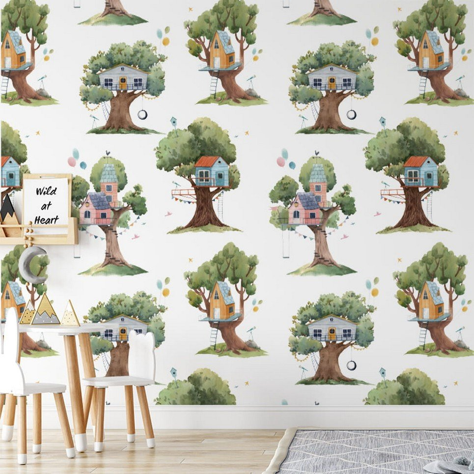 Houses on a Tree Children's Wallpaper