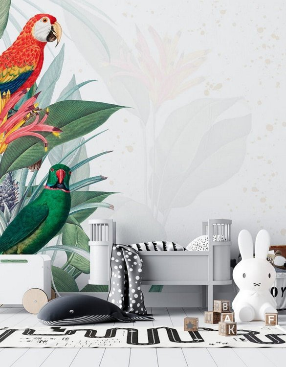 Sure to be adored by little ones, the Parrot Children's Wallpaper is a fun addition to any nursery or playroom. Go on an adventure with our kid's wallpaper for children's rooms! A well-chosen pattern can visually enlarge the interior.