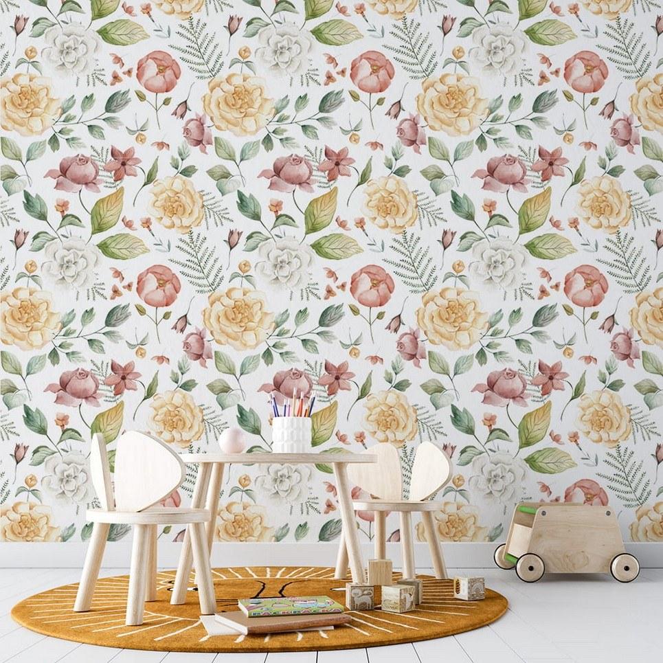 Pastel Flowers Children's Wallpaper