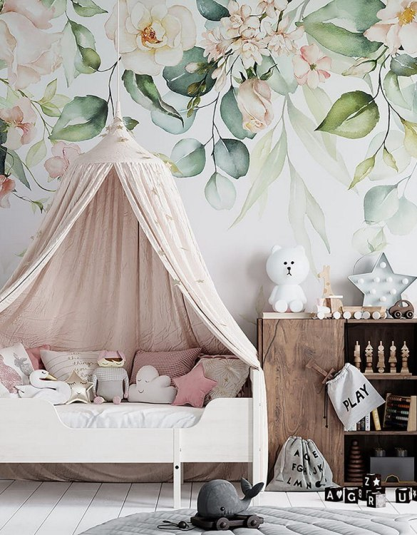 Sure to be adored by little ones, the Pastel Garden Children's Wallpaper is a fun addition to any nursery or playroom. Go on an adventure with our kid's wallpaper for children's rooms! A well-chosen pattern can visually enlarge the interior.