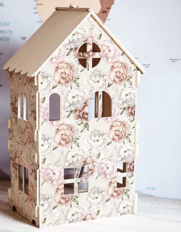 """With a beautiful design, the Peonie-Vintage Children's Dolls House has been created not only for great fun, but also are a unique decoration for children's rooms. Toys that help to pretend to be """"adults"""", such as mini-cookers, prams, or dollhouses are very important in the development of a child."""