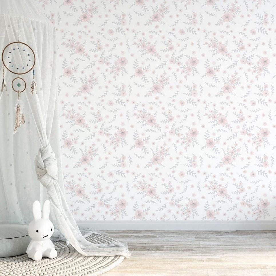 Pink Flowers Children's Wallpaper