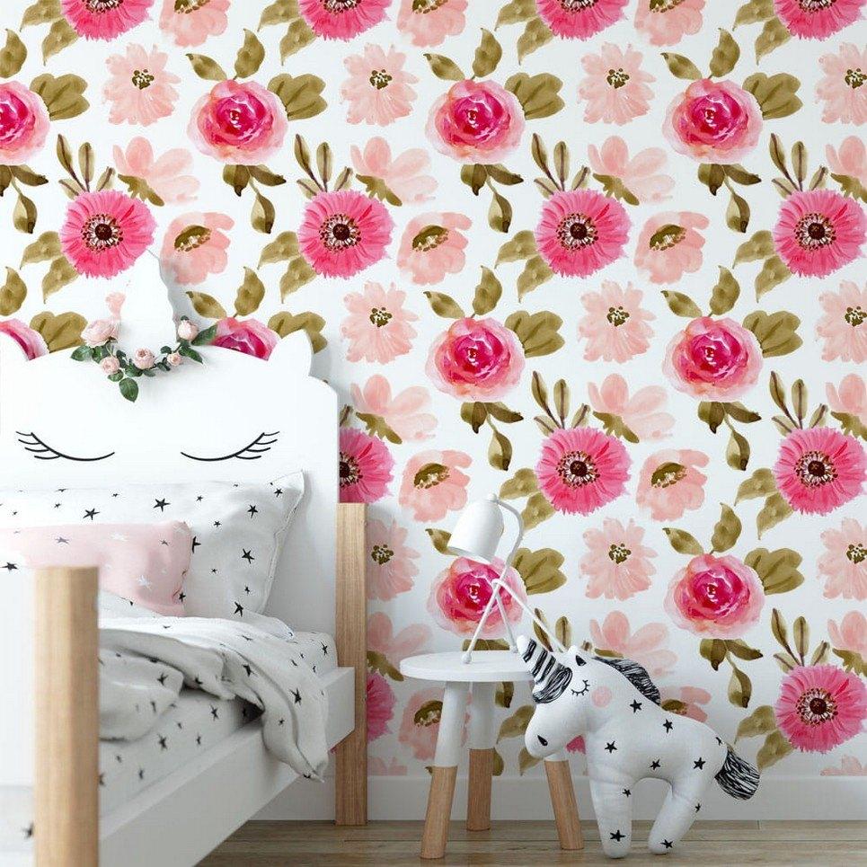 Pink Meadow Children's Wallpaper