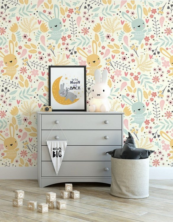 Sure to be adored by little ones, the Rabbits Children's Wallpaper is a fun addition to any nursery or playroom. Go on an adventure with our kid's wallpaper for children's rooms! A well-chosen pattern can visually enlarge the interior.