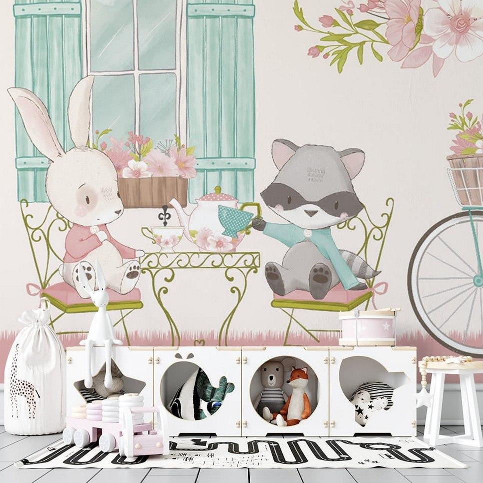 Rabbits at the Tea Children's Wallpaper