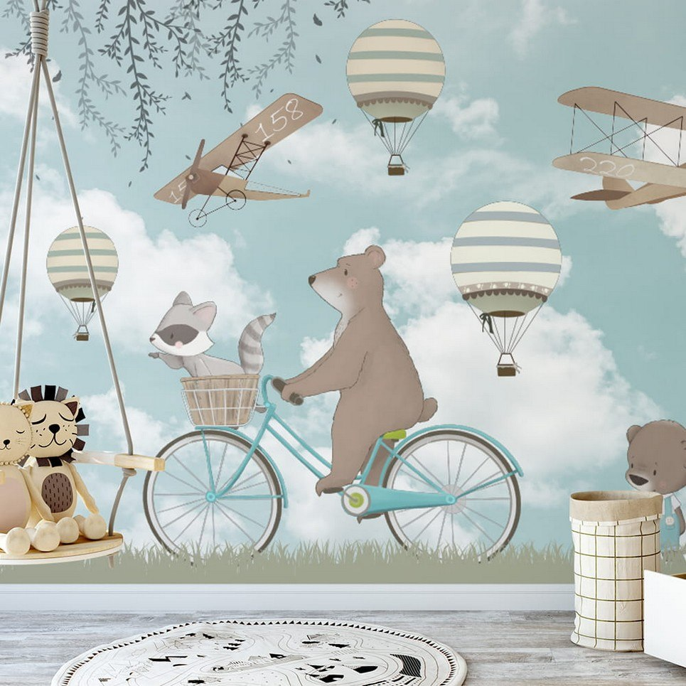 Retro Airplanes and Spring Balloons Children's Wallpaper