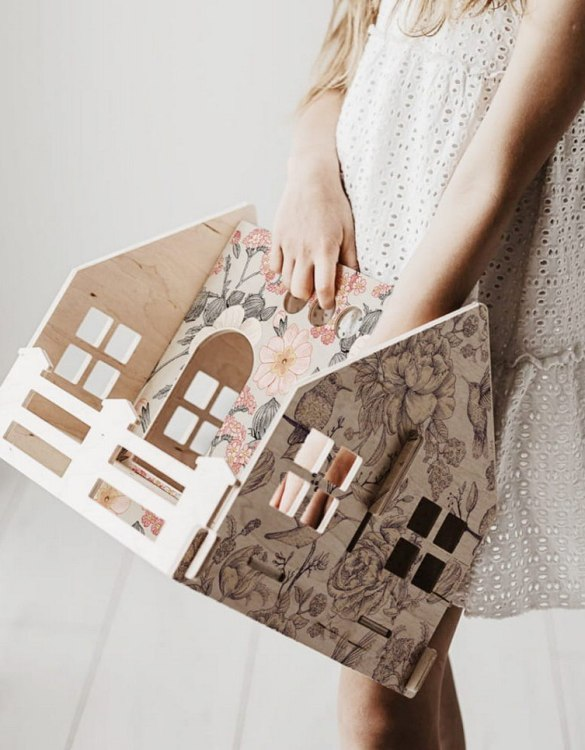 """With a beautiful design, the Retro Flowers Children's Dolls House With a Fence has been created not only for great fun, but also are a unique decoration for children's rooms. Toys that help to pretend to be """"adults"""", such as mini-cookers, prams, or dollhouses are very important in the development of a child."""