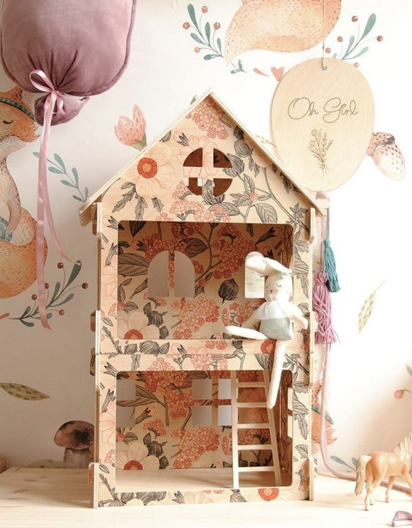 """With a beautiful design, the Retro Flowers Children's Dolls House has been created not only for great fun, but also are a unique decoration for children's rooms. Toys that help to pretend to be """"adults"""", such as mini-cookers, prams, or dollhouses are very important in the development of a child."""
