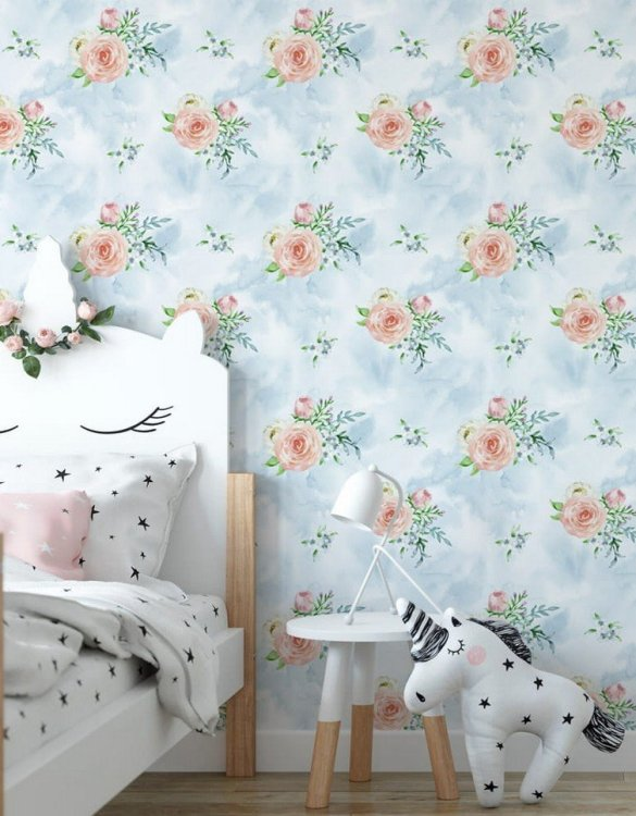 Sure to be adored by little ones, the Sky Bouquets Children's Wallpaper is a fun addition to any nursery or playroom. Go on an adventure with our kid's wallpaper for children's rooms! A well-chosen pattern can visually enlarge the interior.
