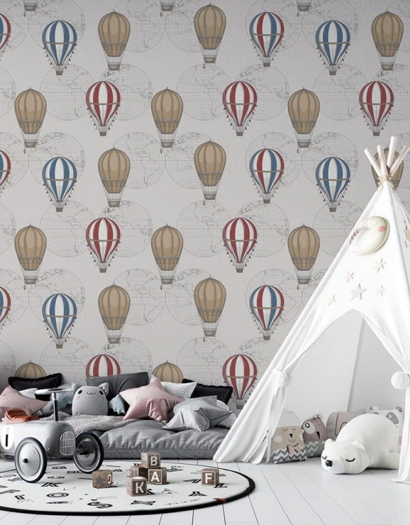 Sure to be adored by little ones, the Vintage Balloons Children's Wallpaper is a fun addition to any nursery or playroom. Go on an adventure with our kid's wallpaper for children's rooms! A well-chosen pattern can visually enlarge the interior.
