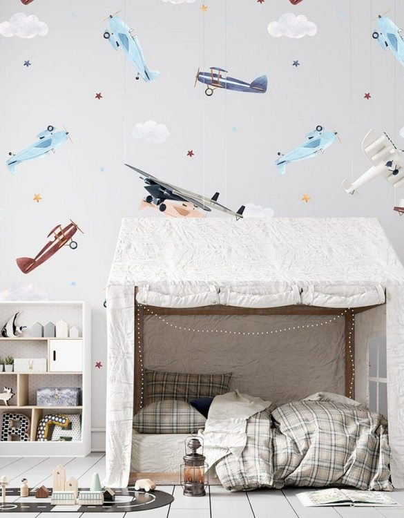 Sure to be adored by little ones, the Airplanes Children's Wallpaper is a fun addition to any nursery or playroom. Go on an adventure with our kid's wallpaper for children's rooms! A well-chosen pattern can visually enlarge the interior.