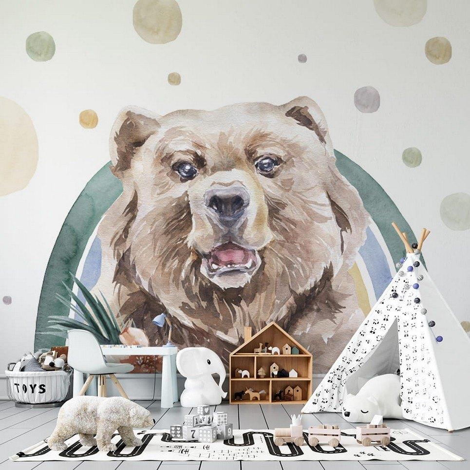 Bear – Rainbow Forest Children's Wallpaper