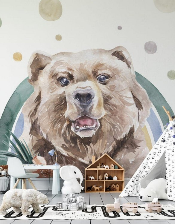 Sure to be adored by little ones, the Bear - Rainbow Forest Children's Wallpaper is a fun addition to any nursery or playroom. Go on an adventure with our kid's wallpaper for children's rooms! A well-chosen pattern can visually enlarge the interior.