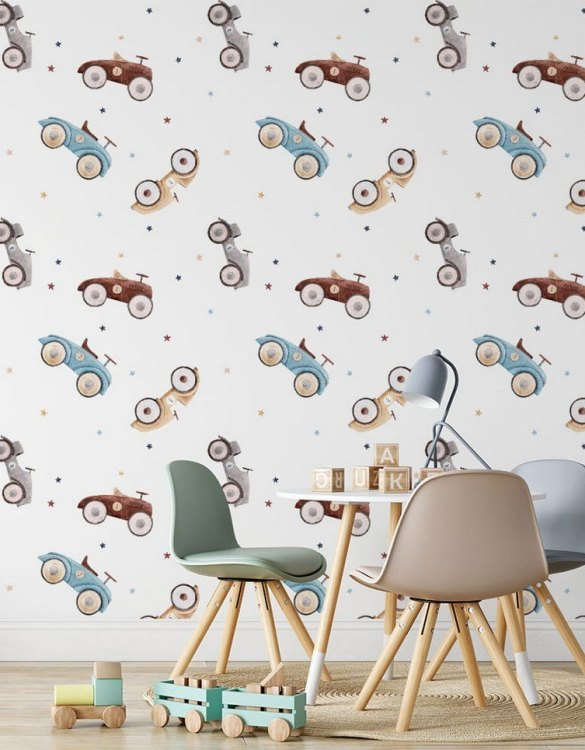 Sure to be adored by little ones, the Cars Children's Wallpaper is a fun addition to any nursery or playroom. Go on an adventure with our kid's wallpaper for children's rooms! A well-chosen pattern can visually enlarge the interior.