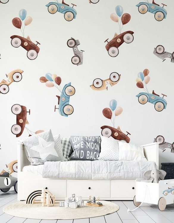 Sure to be adored by little ones, the Cars and Balloons Children's Wallpaper is a fun addition to any nursery or playroom. Go on an adventure with our kid's wallpaper for children's rooms! A well-chosen pattern can visually enlarge the interior.