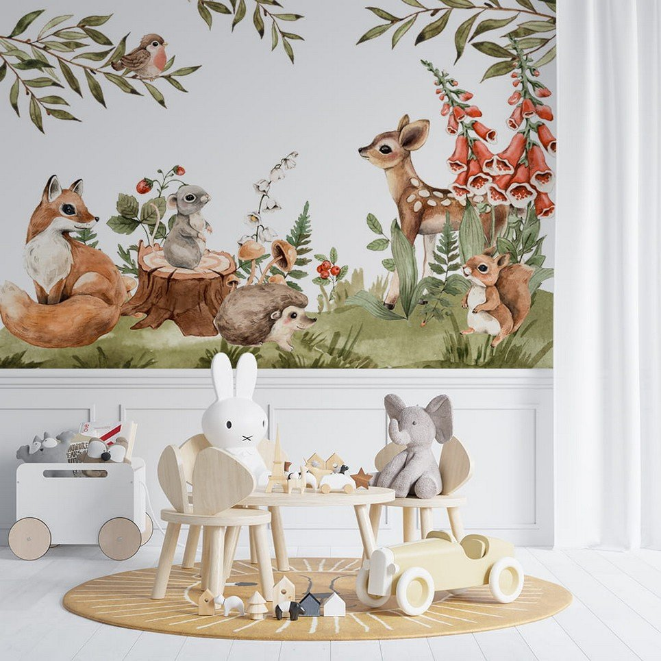 Colorful Forest Meetings Children's Wallpaper