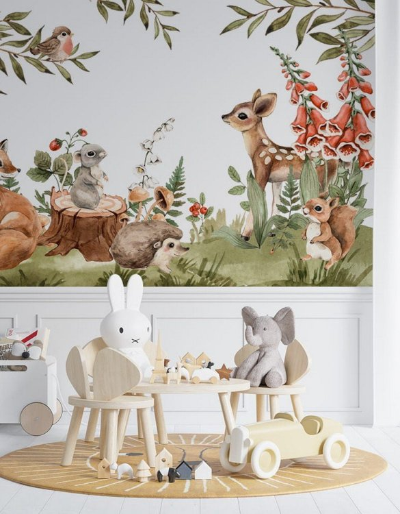 Sure to be adored by little ones, the Colorful Forest Meetings Children's Wallpaper is a fun addition to any nursery or playroom. Go on an adventure with our kid's wallpaper for children's rooms! A well-chosen pattern can visually enlarge the interior.