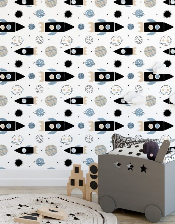 Sure to be adored by little ones, the Cosmos Children's Wallpaper is a fun addition to any nursery or playroom. Go on an adventure with our kid's wallpaper for children's rooms! A well-chosen pattern can visually enlarge the interior.