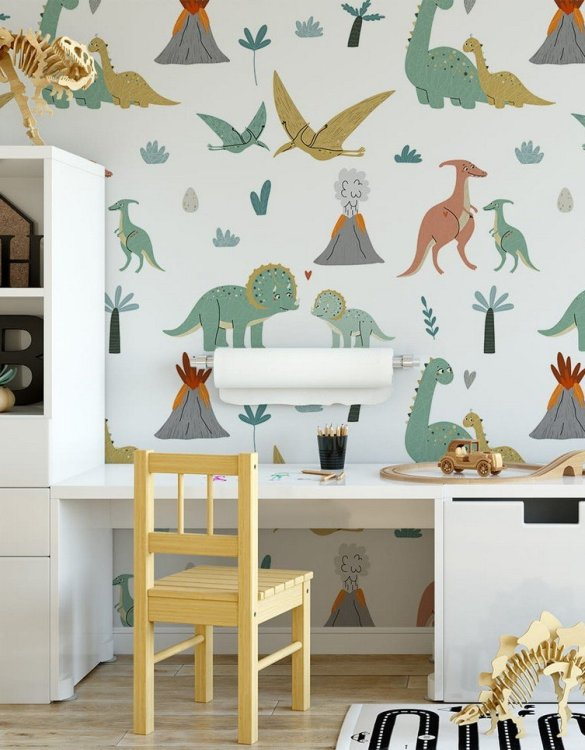 Sure to be adored by little ones, the Dinosaurs 7 Children's Wallpaper is a fun addition to any nursery or playroom. Go on an adventure with our kid's wallpaper for children's rooms! A well-chosen pattern can visually enlarge the interior.