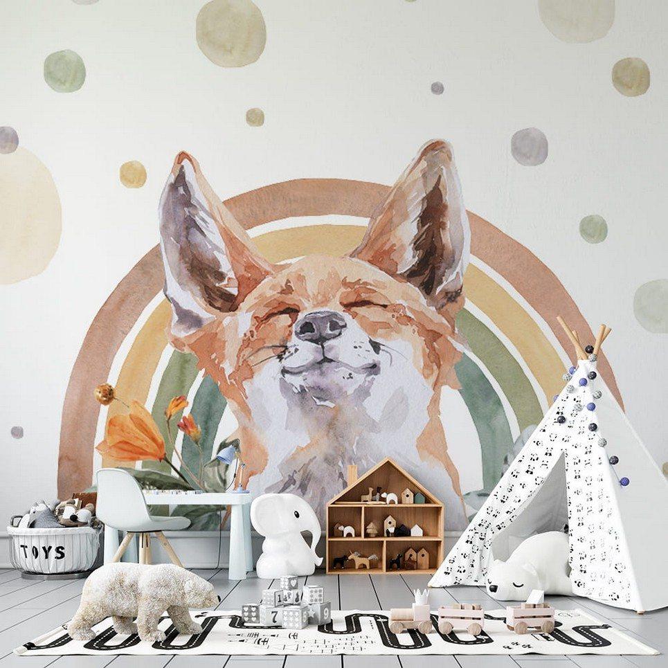 Fox – Rainbow Forest Children's Wallpaper