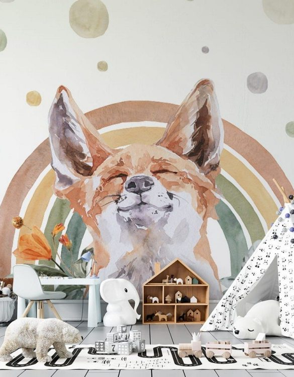 Sure to be adored by little ones, the Fox - Rainbow Forest Children's Wallpaper is a fun addition to any nursery or playroom. Go on an adventure with our kid's wallpaper for children's rooms! A well-chosen pattern can visually enlarge the interior.