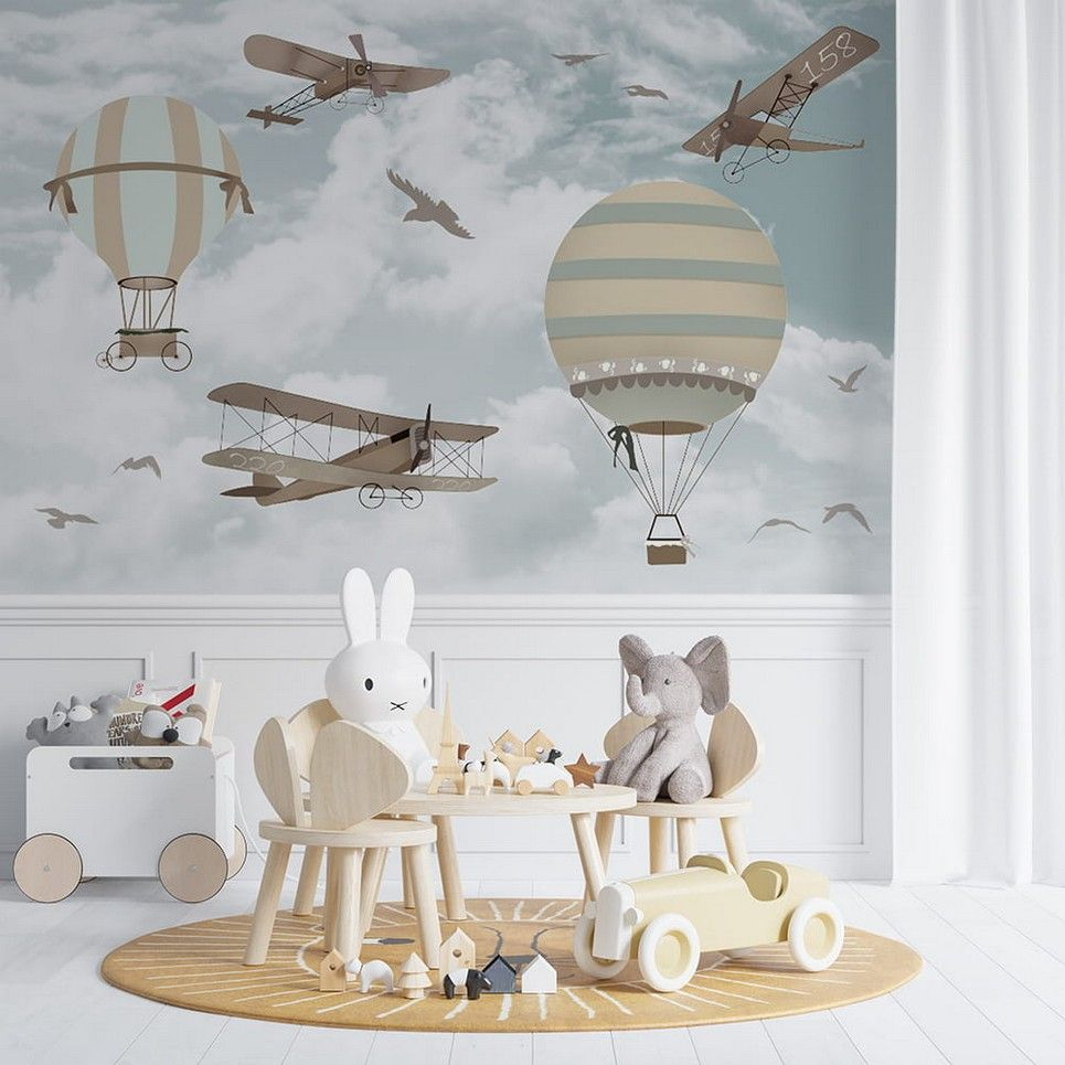 Retro Airplanes and Balloons Children's Wallpaper