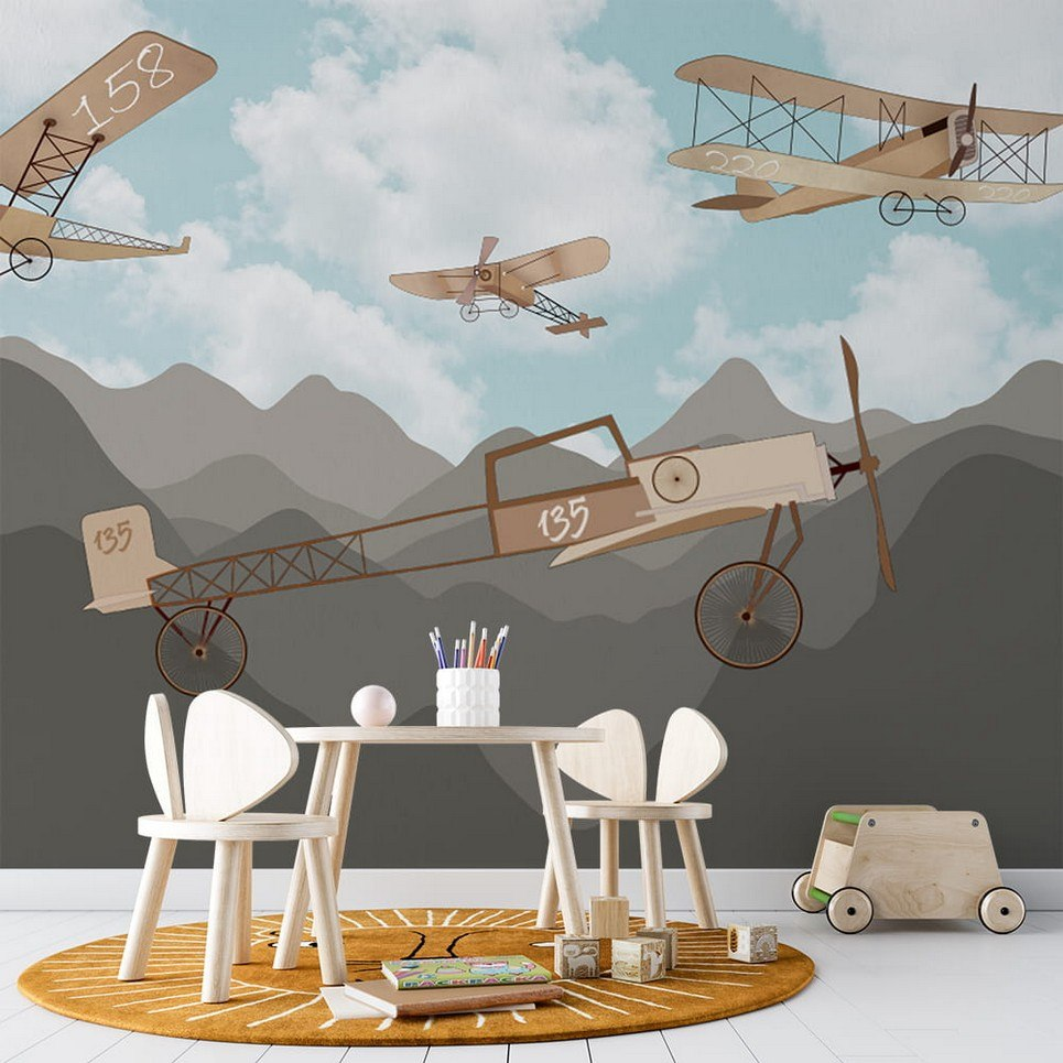 Retro Airplanes and Mountains 2 Children's Wallpaper