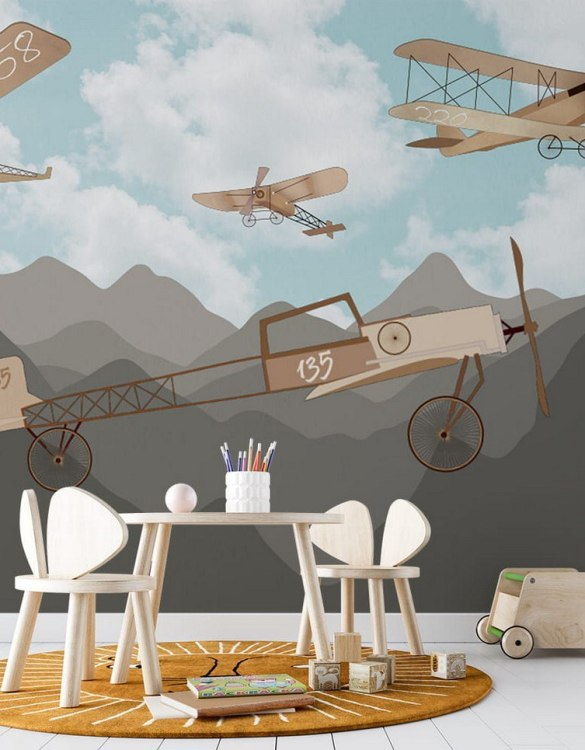 Sure to be adored by little ones, the Retro Airplanes and Mountains 2 Children's Wallpaper is a fun addition to any nursery or playroom. Go on an adventure with our kid's wallpaper for children's rooms! A well-chosen pattern can visually enlarge the interior.