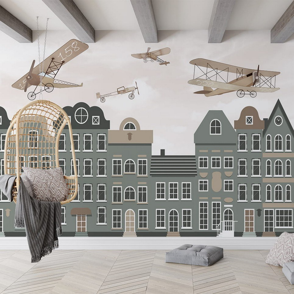 Retro Airplanes and the City Children's Wallpaper