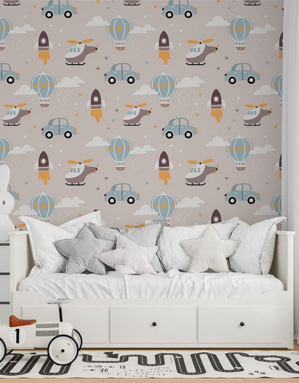 Sure to be adored by little ones, the Rockets and Balloons Children's Wallpaper is a fun addition to any nursery or playroom. Go on an adventure with our kid's wallpaper for children's rooms! A well-chosen pattern can visually enlarge the interior.