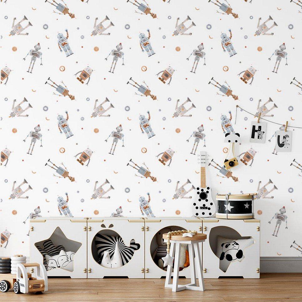 Small Robots Children's Wallpaper